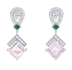 Louis Vuitton white gold, morganite, emerald and diamond earrings from the Chain Attraction collection.
