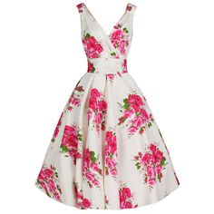 Ivory White Floral Swing Dress Pink & Green Print – Pretty Kitty Fashion