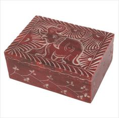 Soapstone trinket box red elephant hand carved hinged Shared Earth fair trade Listing in the Boxes & Trinkets,Decorative & Ornaments,Collectables Category on eBid United Kingdom