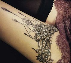 Tatto Ideas 2017  Gorgeous ornamental design on thigh.