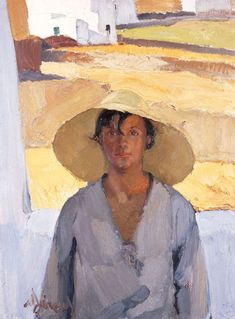 The Straw Hat, 1925 by Nikolaos Lytras, National Art Gallery, Athens Painting People, Figure Painting, Painting & Drawing, Coin D'art, Figurative Kunst, Greek Paintings, Art Antique, Art Corner, National Art