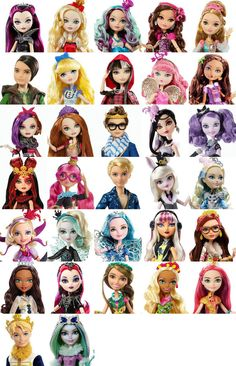 Ever After High - List of all Characters (so far) by The Stars In The Sky1 I made an older version of this awhile ago, but i wanted to wait until HD Promo pics came out for the newer characters to update it. Would've posted this a lot sooner, but I haven't been as much into EAH lately. I was asked by a friend to make this for their own wishlist, so let me know if this is a helpful wishlist to anyone else! (this is more or less in the order of their release)