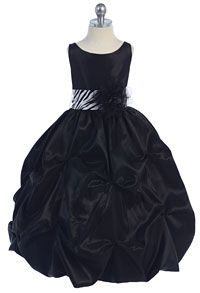 Girls Dress Style 599 - BLACK Dress with Choice of 25 Sash and Flower Options
