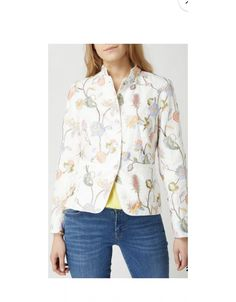 Rofa Fashion Group White Label off-white linen jacket embroidered with a floral design.  Style up your wardrobe this summer! This is a very classy item. Irish Fashion, Linen Jackets, Embroidered Jacket, Off White Color, Fashion Group, Mother Of Pearl Buttons, Label, Classy, Pure Products