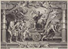 Nicolaes Lauwers   De triomf van de Eucharistie over wijsbegeerte, wetenschap, dichtkunst en natuur, Nicolaes Lauwers, c. 1626 - 1652   Het Geloof, een jonge vrouw met een kelk met hostie in de hand, triomfeert op een tweewielige wagen getrokken door engelen. Naast Geloof staat de wereldbol die duidt op de Katholiciteit, doelend op de verspreiding van het geloof over de gehele wereld. Achter de kar worden gevangenen meegevoerd. De vrouw met de vele borsten is de Natuur. De oude man leunend…