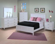 New Classic Santa Barbara Youth Panel Bedroom Set in White Finish 025 $1162