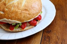 Meatless Monday: Roasted Red Pepper and Olive Muffuletta - Ezra Pound Cake - - - Vegan Recipes, Snack Recipes, Dinner Recipes, Muffuletta Sandwich, Vegetarian Roast, Roasted Red Peppers, Meatless Monday, Pound Cake, Food Plating