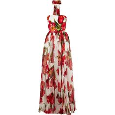 Dolce & Gabbana Floral-print silk-blend matelassé and chiffon gown ($5,315) ❤ liked on Polyvore featuring dresses, gowns, red, red dress, red chiffon dress, fitted dresses, red fitted dress and floral dress