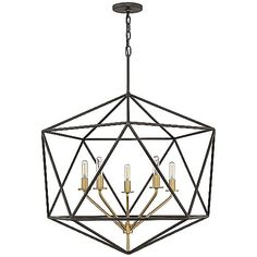 The Hinkley Lighting Astrid Chandelier is a sleek and chic lighting option featuring a two tone finish combined with an airy geometric frame. The inner light cluster seemingly floats in the middle of the frame, which is uniquely wired from the bottom to achieve this effect. The two tone finish adds a layering effect as well as depth and dimension.