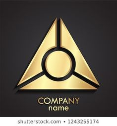 triangle 3d golden geometric logo