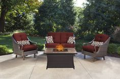 Ventura 4-Piece Fire Pit Chat Set in Crimson Red
