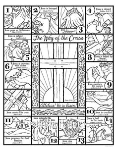 The Way of the Cross coloring page and bookmarks by KristaHamrick