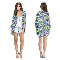 Vechell Women Girls Floral Print Long Loose Kimono Jacket Coat Cardigan Blouses * Read more at the image link.