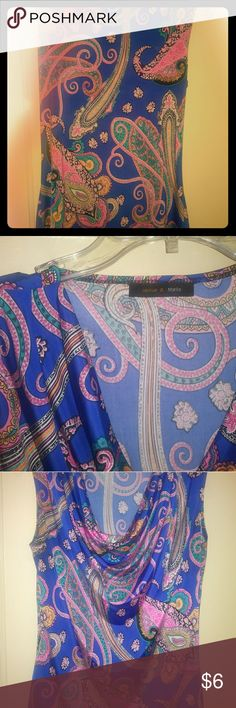 Paisley print silky sleeveless top Flimsy silky blue with multicolored paisley print sleeveless with a droopy front neckline that is waist length and fitted jennie & marlis Tops Blouses