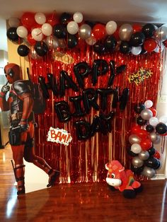 Deadpool Birthday Backdrop Deadpool Quotes, Deadpool Funny, Deadpool Movie, Female Deadpool, Deadpool Facts, Deadpool Chibi, Deadpool Mask, Deadpool Costume, Frozen Birthday Party