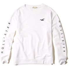 Hollister Oversized Graphic Crew Sweatshirt ($15) ❤ liked on Polyvore featuring tops, hoodies, sweatshirts, white, fleece crewneck sweatshirt, fleece sweatshirt, patterned sweatshirt, white crewneck sweatshirt and print sweatshirt
