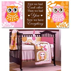 Owl Floral Trio  Set of Three 8x10 Nursery Prints  by Tessyla, $55.00
