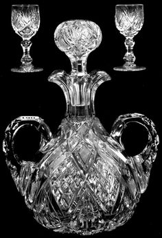 "VERY RARE! 10"" AMERICAN BRILLIANT CUT GLASS TWO HANDLED DOUBLE SPOUT DECANTER HARVARD PATTERN BY LIBBEY AND SHAPE #302 FEATURED IN LIBBEY CATALOG REPRINT PG.8 - PATTERN CUT HANDLES, STOPPER & BASE - INCLUDES (2) 3 1/2"" DOUBLE TEAR DROP STEM CORDIAL GLASSES - FINEST QUALITY! Crystal Glassware, Antique Glassware, Crystal Vase, Antique Bottles, Vintage Bottles, Cut Glass, Glass Art, Perfume Vintage, Liquor Glasses"