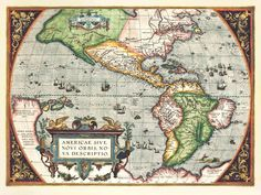 AMERICAE SIVE NOVI ORBIS, NOVA DESCRIPTIO. From Theatrum Orbis Terrarum, Antwerp, 1571. This version shows the southwest coast of South America with a relatively straight coastline, as opposed to previous states of the map which characterize the coast as having a great  bulge. The map, with its decorative borders, strapwork cartouche, sailing ships and breaching cetacean, is one of the most attractive depictions of this side of the world in cartography.