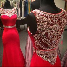 red prom dress, off shoulder prom dress, prom dress 2015, cheap prom dress…