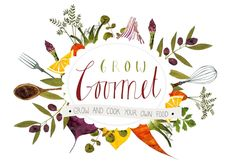 Samara Hardy illustration. Logo I designed for a recipe card and seed packet kit.