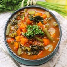 Whip up this simple and delicious recipe for detox vegetable soup for a healthy meal packed with tons of nutrition and flavors! #pinitforlater