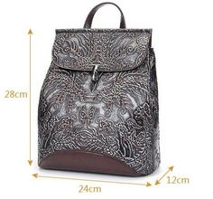 cfb79222bbe1 Hand-Crafted Genuine Embossed Leather Backpack Women