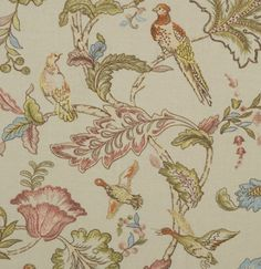 Early Birds Embroidered Fabric An exquisite fabric with embroidered pheasants, ducks and buzzards set amongst sprawling floral branches, shown in pink, green and blue on a natural linen ground.