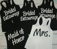 10 Bridal Entourage Tank tops. Set of 10 Bridesmaid shirts. Bachelorette Party tanks. Bridesmaid tanks. Wedding shirts. by BrideAndEntourage on Etsy https://www.etsy.com/listing/220292121/10-bridal-entourage-tank-tops-set-of-10