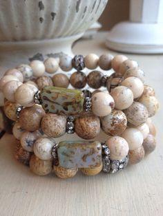 VENTE/Bohême Glam pierre gemme opale africaine Vintage strass BoHo tchèque rainurés Bracelet perle/superposition