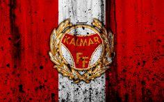 Download wallpapers 4k, FC Kalmar, grunge, Allsvenskan, soccer, art, football club, Sweden, Kalmar, logo, stone texture, Kalmar FC