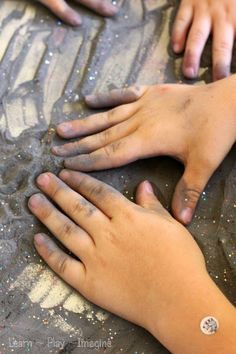 Sensory play with erupting moon dust.