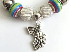 Rainbow Charm Bracelet European Style Valentines Gift For Her #rainbow #charmbracelet #europeanstyle #prandski