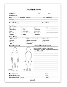 I Like The Child Figure To Show Exact Point Of Injury/mark On Child From  Incident. Incident Report Form   Medical And Incident Pads  Injury Incident Report Form Template