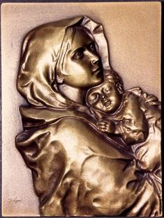 MADONNINA, BRONZE MEDAL BY BALTAZAR. The Madonnina, commonly known as the Madonna of the Streets, was a painting created by Roberto Ferruzzi (1854-1934) and first publicly exhibited in 1897 at an art exhibition in Venice. The models for this painting were Angelina Cian (age 11) and her younger brother. Catholic Medals, Small Words, Bronze Sculpture, Madonna, Statue, Israel, Venice, Artist, Brother