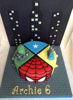 superheroes Batman Birthday, Superhero Birthday Party, Boy Birthday, Birthday Cakes, Birthday Parties, Marvel Avengers, Marvel Cake, Captain America Birthday Cake, Fab Cakes