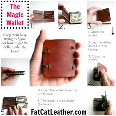 Leather magic wallet. Great gift for tweens or boy's first wallet. $19
