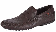 NEW Gucci Men's 170618 Brown Leather Web GG Guccissima Drivers Loafers Shoes…