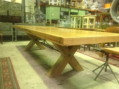 Vintage Long Kitchen Dinning Table Made From OLD Bowling Lane 3 5 Meters in Fairfield, VIC | eBay