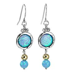 Silver Earrings with Opal and Goldfilled beads