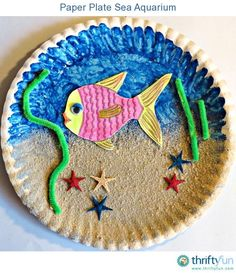 Summer is the perfect time to do some crafts and to have some family fun. Using some simple craft materials let your kids make this sea aquarium to remind them of their beach holiday. A really fun project, and really fast too! Ideal for those little minds that cannot concentrate for long periods on end. A great summer craft for kids to make!