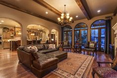Tuscan Living Room open to kitchen
