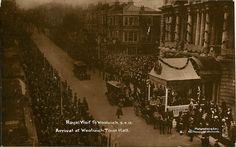"Arrival at Woolwich Town Hall"". Publisher : Molyneux of Woolwich. Condition : slightly rounded corners otherwise good condition. Vintage London, Old London, Local History, Town Hall, Vintage Pictures, Vintage Photography, Old Photos, Scene, Lost"