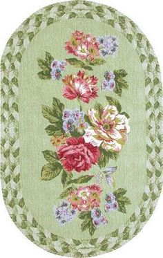 French Country Victorian Shabby Oval Dollhouse Miniature Floral Print Rug | eBay