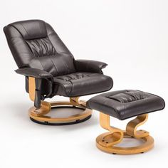 BN Brown Massage Recliner Chair Real Leather Swivel Armchair with Foot Stool