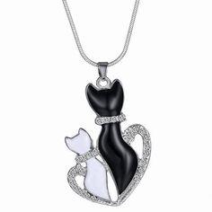 Delicate Rhinestone Kitten Shape Necklace For Women