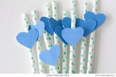 Blue Painted Heart Straw Tag Printable by PaperPoniesBoutique. $4