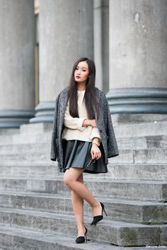 Mango tweed coat | Topshop knit (similar) | Zara shoes | Hokk Fabrica dress (worn as a skirt)
