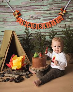 1ST BIRTHDAY BANNER boy / Camping Birthday Banner / 1st birthday boy / 1st birthday banner / Cake smash banner / Lumberjack first birthday / Banner by Sweet Georgia Sweet / Baby photography by Kara Hiers Photography