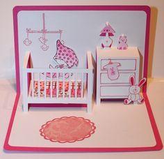 Carte pop up naissance - Félicitation Rose : Cartes par scrapanne44